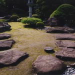 庭園への誘導石